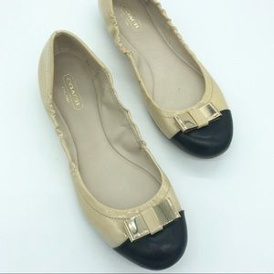Coach | Demi Leather Gold Bow Flats